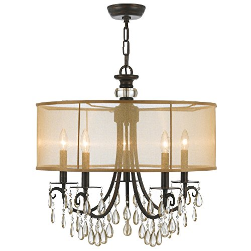 Crystorama 5625-EB Crystal Accents Five Light Chandelier from Hampton collection in Bronze/Darkfinish,