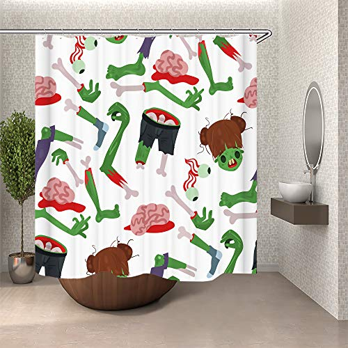 SARA NELL Colorful Zombie Scary Cartoon Halloween Magic Shower Curtain,Waterproof Polyester Fabric,Extra Long Bath Curtains Bathroom Decorations Home,72X72 inches -