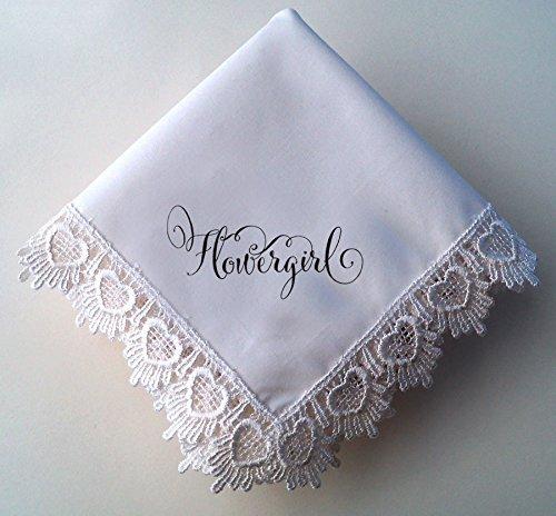 Flowergirl Wedding Handkerchief, Hearts Lace Hankie Favor with Printed Calligraphy Script, in a Gift (Flower Girl Handkerchief)
