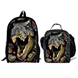 ThiKin 17'' Dinosaur School Bag Backpack with 9'' Lunch Bag Lunch Box for Kids