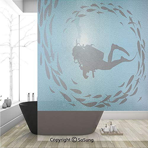 3D Decorative Privacy Window Films,Diver Surrounded with Jamb of Fishes Scuba Snorkel Aqualung Water Sports,No-Glue Self Static Cling Glass Film for Home Bedroom Bathroom Kitchen Office 36x48 Inch