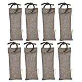 NaturoWood Bamboo Charcoal Bags, Mini Odor Eliminator, Air Purifier and Natural Deodorizer for Shoes, Sneakers, Boots, Boxing Gloves, Bags and Tight Spaces, 8 Packs 75 gr Bags with 4 Hanging Robes