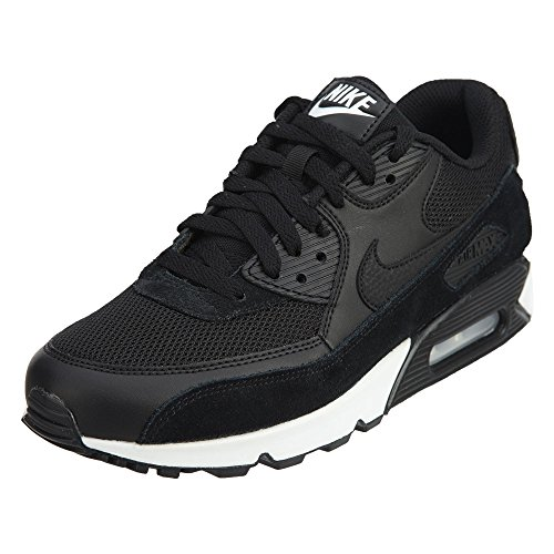 Max 90 Leather Mens Shoe (Nike Mens Air Max 90 Essential Running Shoes Black/Black/White 537384-077 Size 10)