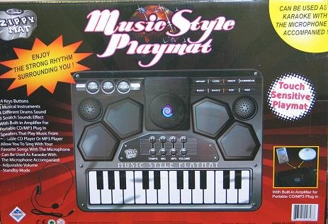 Karaoke Music Station With Electronic Keyboard and Drums
