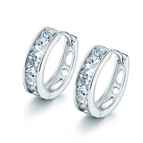 18K White Gold Plated Womens Wedding Jewelry White Cubic Zircon Huggie Hoop Earings -  LILEI, XUE143a