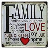 "Nafico Decorative Signs Metal Iron Tin Sign Family Love Wall Decoration Art Bar Home Decor 12""x12"""