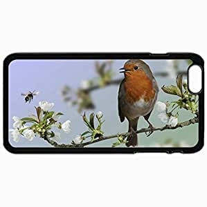 Customized Cellphone Case Back Cover For iPhone 6 Plus, Protective Hardshell Case Personalized Bird Macro Branch Bloom Black