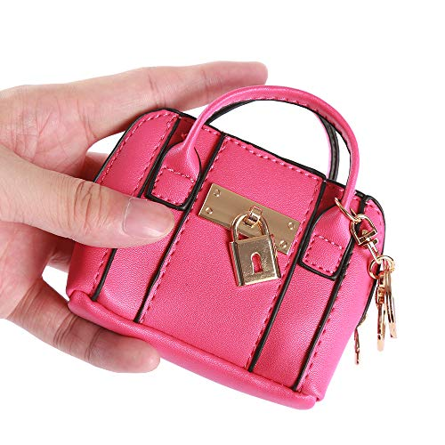 Funny Coin Purses & Pouches for Women/Girls Car Key Case Small Mini Leather Wallet with Keychain/Key Ring (Pu Leather(Hot Pink))