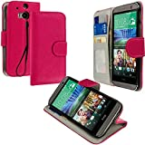 Cell Accessories For Less (TM) Hot Pink Leather Wallet Pouch Case Cover with Slots for HTC One M8 Bundle (Stylus & Micro Cleaning Cloth) - By TheTargetBuys
