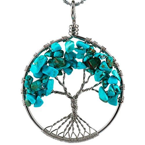 SUNYIK Blue Howlite Turquoise Eternal Tree of Life Pendant Tumbled Stones Healing ()