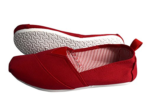 Peach Couture Striped Casual Summer Breathable Tennis Slip On Loafer Sneaker Shoes Red 7