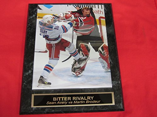 Martin Brodeur vs Sean Avery Engraved Collector Plaque w/8x10 FIGHT - Clubhouse Rangers