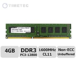 Timetec Hynix Grade A IC 4GB DDR3 1600MHz (PC3 12800) Non ECC Unbuffered CL11 1.35/1.5V 240 Pins UDIMM Desktop Memory Modules Upgrade (4GB)