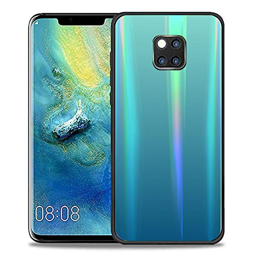 AIsoar Compatible with Huawei Mate 20 Pro Case,Transparent Laser Aurora Gradient Color Sparkle Bling Glitter Tempered Glass Case Soft Bumper Hard Back Slim Shockproof Protective Cover - Light Blue (Bling Dental Replacement Heads)