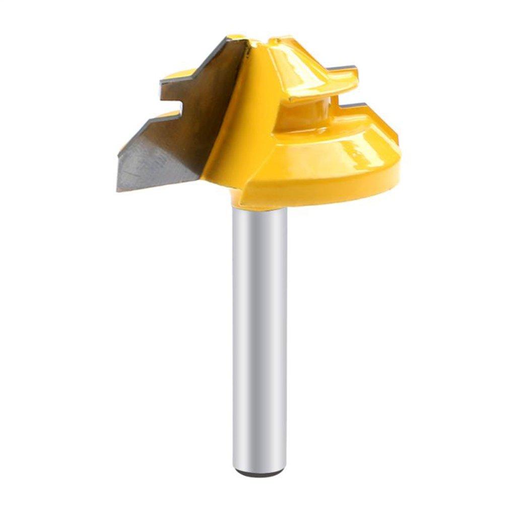 Laileya Prá ctica 45 grados de bloqueo de inglete Router Bit 1/4 pulgadas herramienta de fresa vá stago de la fresa de la carpinterí a de madera de perforació n de carburo de aleació n