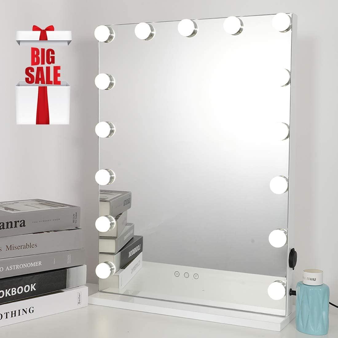 iCREAT Hollywood Makeup Mirror, Touchscreen Control Vanity Mirror, Multiple Color Modes Cosmetic Mirror, Lighted Mirror with 15 Dimmable Bulbs, White