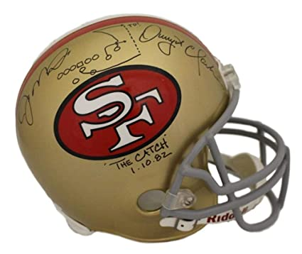 e7eea5981a2 Dwight Clark   Joe Montana Dual Autographed Signed San Francisco 49ers  Replica helmet w The