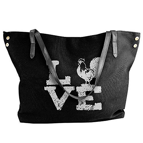 Canvas Chickens Black Women's Tote Handbags Shoulder I Large Handbag Love p0x0w1qO