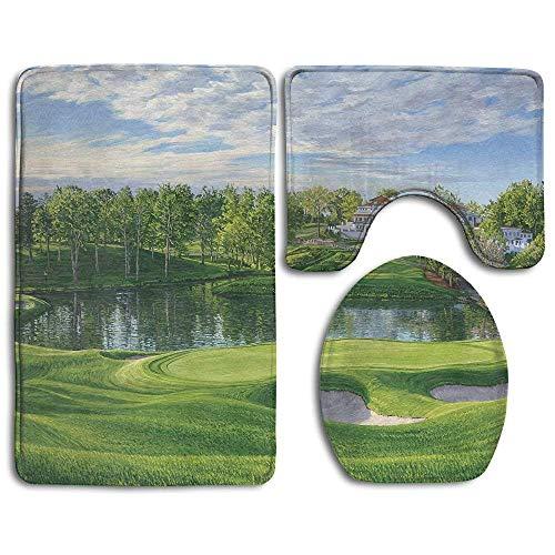 EnmindonglJHO Bath Mat Grand Golf Landscapes Design Super Cute 3 Piece Bathroom Rug Set Bath Rug, Contour Mat, Lid Cover Non-Slip with Rubber Backing