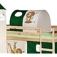 IDIMEX Tunnel Tente pour lit surélevé superposé mi-Hauteur Mezzanine Tissu Coton Motif Savane Vert