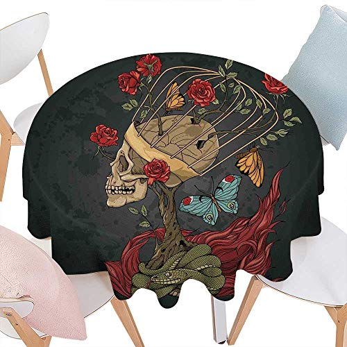 - cobeDecor Skull Printed Round Tablecloth Evil Mexican Sugar Skeleton with Kitsch Bush of Roses Snake and Butterfly Artwork Flannel Round Tablecloth D36 Ruby Dark Grey