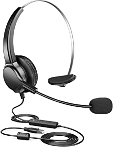 Punasi USB Headset Computer Headset with Noise Cancelling Microphone, Volume Control Mute Business Office Headphone for Business, Call Center, Laptop, Recording, Meetings, Skype, Working from Home