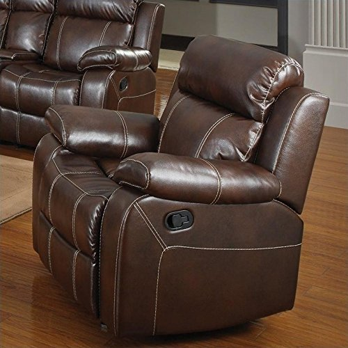 - Coaster Myleene Chestnut Leather Glider Recliner with Pillow Arms