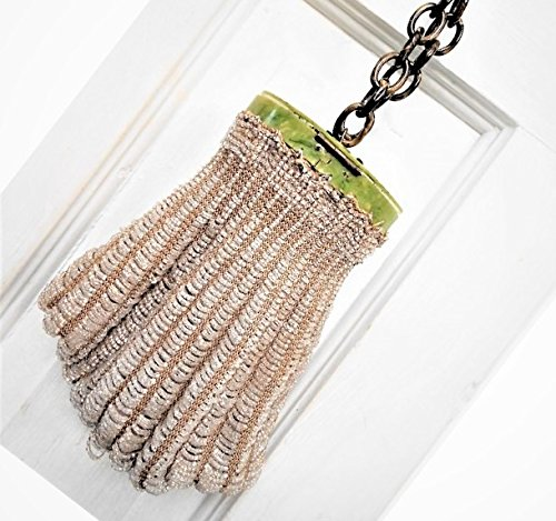 Roaring 20s Flapper Purse, Sparkling Clear Beads w/ Beige Tapered Crocheted Bag Colorful Celluloid Top & Chain. Gorgeous, Nearly 100 Years by EMENOW
