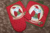 The Pecan Man Everyday Kitchen Set of 2, Pot Holders & Oven Mitt Happy holiday red owl