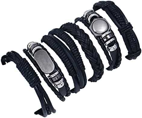 Black Dzsntsmgs Mens Punk Star Alloy Charm Multilayer Braided Faux Leather Bracelet Jewelry