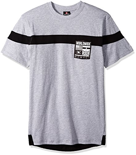 Southpole Mens Short Sleeve Tee with Colorblock and Nylon Patch