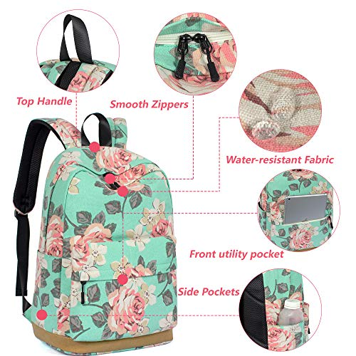 Leaper Vintage Floral School Backpack Girls Daypack Bookbag Travel Bag Black