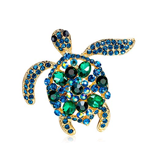 AILUOR Vintage Turtle Brooch Pins, Fashion Women's Rhinestone Crystal Big Tortoise Pin Brooches Jewelry Gifts (Blue-A) -