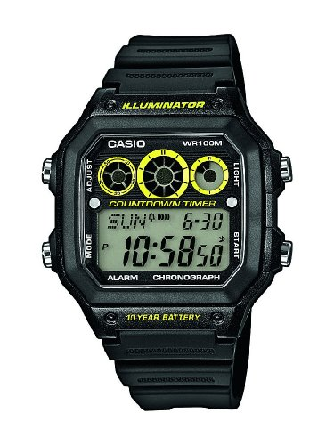 Casio Mens Quartz Watch, Digital Display and Resin Strap AE-1300WH-1AVDF