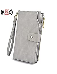 UTO Women's RFID Blocking Large Capacity PU Leather Clutch Wallet 21 Card Slots Holder Organizer Ladies Purse with Wristlet CA