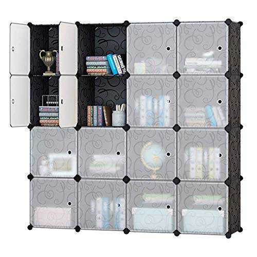 Wardrobe Bedroom Doors - Honey Home Modular Plastic Storage Cube Closet Organizers, Portable DIY Wardrobes Cabinet Shelving with Doors for Bedroom/Office - 16 Cubes Black & White