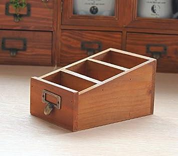 uchic 1pcs tres celosía Caja de almacenamiento de escritorio cosméticos cajas de madera joyería de madera caja de almacenamiento Vintage Figura gran regalo: ...