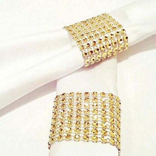 Handmade DIY Plastic Gold Rhinestone Wrap Napkin Rings For Hotel Home Decoration Wedding Supplies Pack of 100 pcs (Gold)