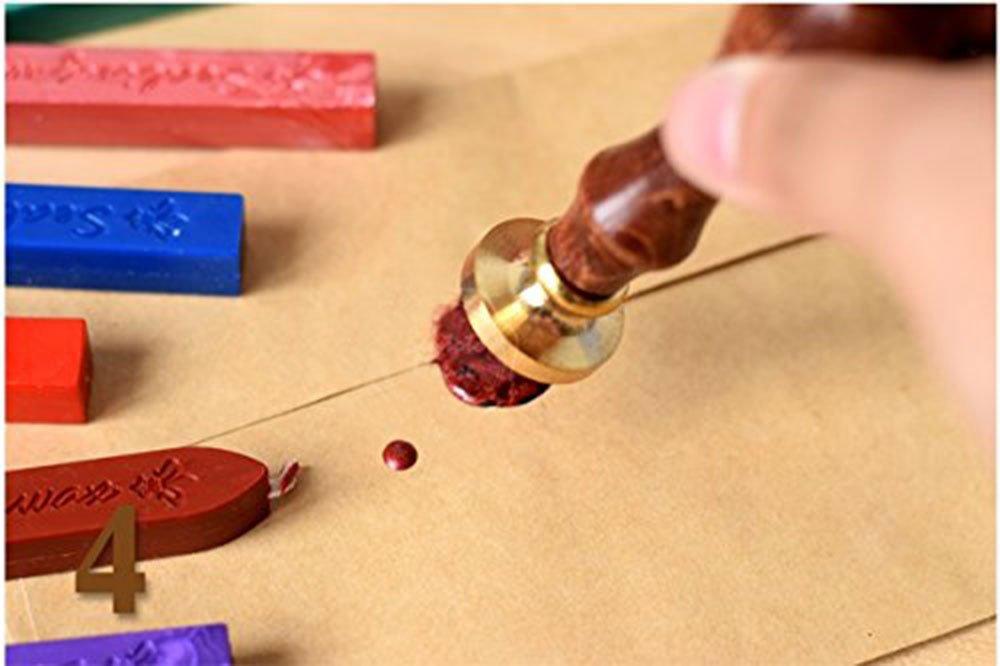 5 bastoncini di ceralacca rossa Wax Wick Sticks per sigillo di inviti biglietti buste