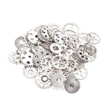Pandahall 500g Antique Silver Metal Alloy Steampunk Gear Charms Connectors Cog Pendants, Lead Free, for Crafting Jewelry Making