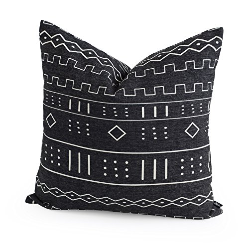 Hofdeco Premium Decorative Throw Pillow Case African MUD CLOTH Print Bogolan Black Geo Stripe Pattern HEAVY WEIGHT FABRIC Cushion Cover 20x20 Inches 50x50cm