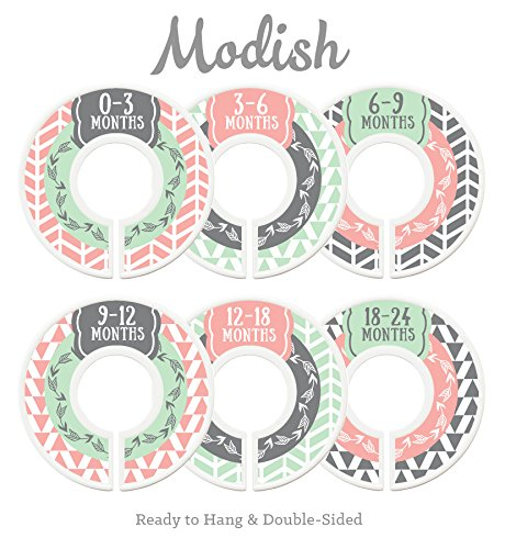 Modish Labels Baby Nursery Closet Dividers, Closet Organizers, Nursery Decor, Baby Girl, Woodland, Arrow, Tribal, Pink, Mint, Grey