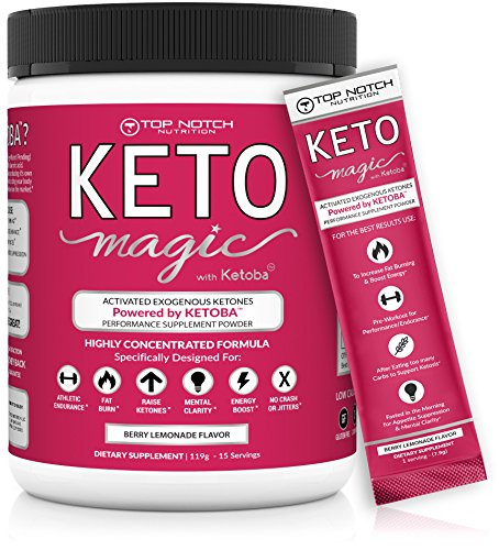Keto Magic Exogenous Ketone Supplement Powered by Patent-Pending KETOBA (BHB Salts+BA) | Achieve Ketosis & Ketogenesis w/Easy On-The-Go Single Serving Pouches. Amazing Energy, Stamina & Focus. (15) (Best Supplements For Intermittent Fasting)