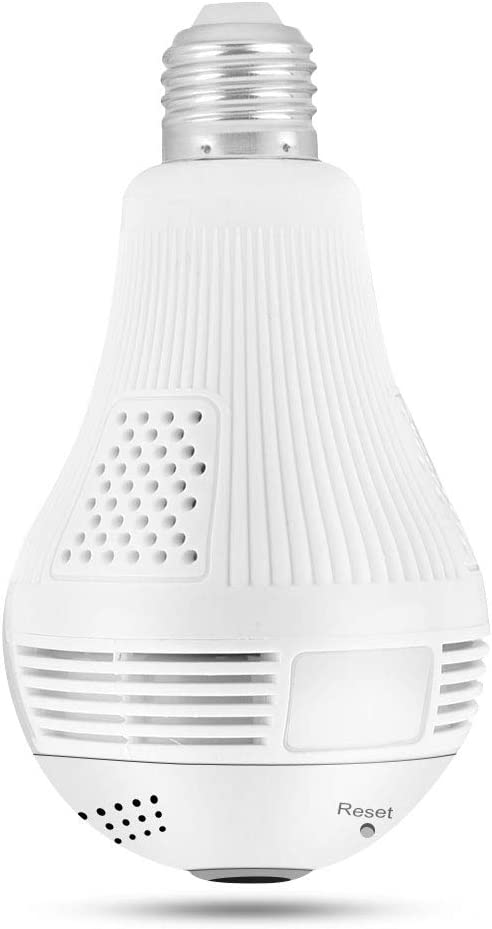 960P 1.3MP HD WiFi Light Bulb Camera, 360° Panoramic DVR Camera Bulb Light Remote Monitoring Smart Security Cam for Home Security System, Motion Detection and Two Way Talking