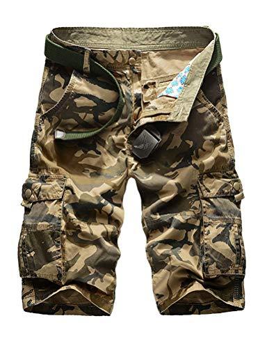 - IDEALSANXUN Men's Casual Loose Fit Multi-Pockets Military Cargo Shorts (#2 Khaki, 34)