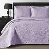 quilts king size purple - Comfy Bedding EXTRA Lightweight and Oversized Thermal Pressing Leafage 3-piece Coverlet Set (King/Cal King, Lavender)