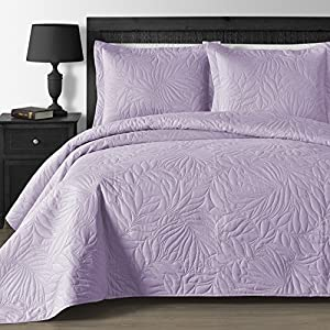 Comfy Bedding EXTRA Lightweight and Oversized Thermal Pressing Leafage 3-piece Coverlet Set (King/Cal King, Lavender)