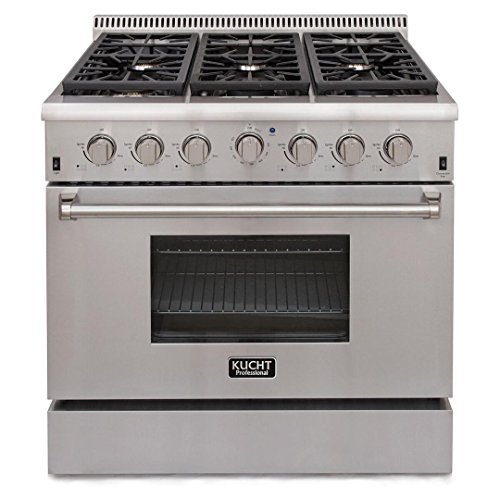 Kucht KRG3618/LP KRG3618U/LP Professional 36″ 5.2 cu. ft. Propane Gas Range with Sealed Burners and Convection Oven, Stainless-Steel