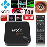 Susay(TM) MX3 Android Mini PC TV BOX 4K Quad Core XBMC 14.0 Android 4.4 KitKat 8GB HDD 2GB RAM WiFi MXIII Streaming Internet Media Player with IR Remote