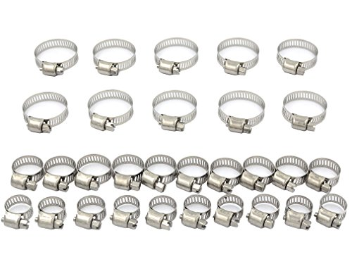 DGOL 30 pcs 304 Stainless Steel Adjustable Screw Band Worm Drive Hose Clamps,Hoop Pipe Clips With 3 Sizes 6mm-29mm by DGOL